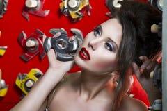 Sexy schöne Frauen mit den roten Lippen Stockfotos