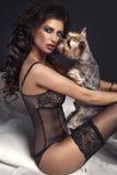 Sexy schöne Brunettefrau, die mit Hund aufwirft. Stockbild