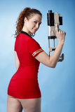 Sexy sci-fi girl with gun Royalty Free Stock Photography