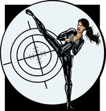 Secret Agent girl. With , agent is on a separate layer and can be easily removed stock illustration