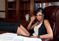 Sexy secretaresse stock foto