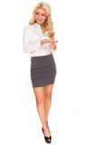Sexy secretary. Young beautiful businesswoman isolated on white background. Sexy Secretary Royalty Free Stock Photo