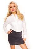 Sexy secretary. Young beautiful businesswoman isolated on white background. Sexy Secretary Stock Photos