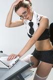 Sexy secretary laptop Royalty Free Stock Photography