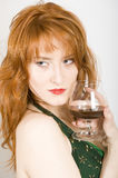 seductive woman with alcohol drink Royalty Free Stock Photography