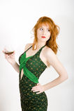 seductive woman with alcohol drink Stock Images