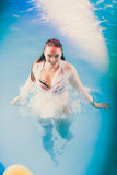 Sexy seductive woman in water. Sexy seductive woman in swimming pool water. Pretty alluring young girl wearing wet white shirt Stock Image