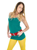 Sexy Seductive Young Woman Posing in Yellow Tights Stock Photos