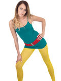 Sexy Seductive Young Woman Posing in Yellow Tights Royalty Free Stock Photos