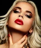 Sexy sensual blond model with red lips Royalty Free Stock Images
