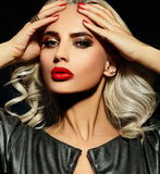 Sexy sensual blond model with red lips Royalty Free Stock Image