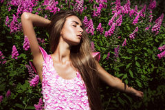 Sexy sensual woman in pink dress Stock Image