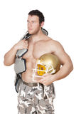 Sexy shirtless american football player. Stock Photo
