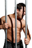 Sexy shirtless man behind bars on white background Stock Image
