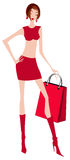 Sexy shopping girl illustration Stock Photography