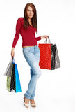 Sexy shopping girl with sale bag Royalty Free Stock Photo
