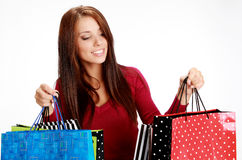 Sexy shopping girl with sale bag Royalty Free Stock Image