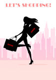 Sexy shopping girl silhouette Stock Photos