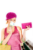 Sexy shopping woman with vallet and money Stock Images