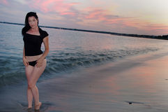 Sexy Shoreline Sweetheart & Strawberry Sunset Stock Photo