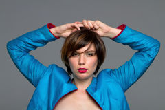 Sexy short hair brunette woman Stock Photography