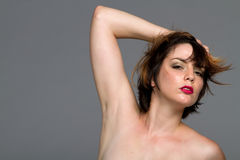 Sexy short hair brunette woman Stock Photos