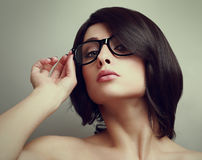 Sexy short hair woman in glasses. Closeup Stock Photos