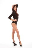 Sexy show girl dancer wearing heels and leotard Royalty Free Stock Photo