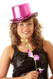 Sexy showgirl girl in pink shining disco hat Royalty Free Stock Photo