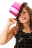 Sexy showgirl girl in pink shining disco hat Stock Images