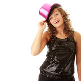 Sexy showgirl girl in pink shining disco hat Stock Photography