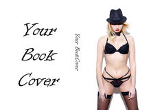 Sexy showgirl posing at white wall book cover template Royalty Free Stock Photos