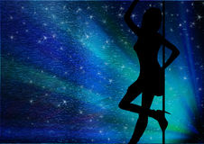 Sexy silhouette. Of a woman, with stars Stock Image