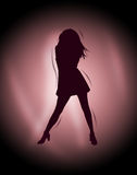 Silhouette. Lady silhouette on a gradient background vector illustration