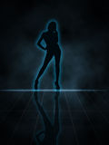 Sexy Silhouette. Illustration of a woman glowing silhouette on black background Royalty Free Stock Images