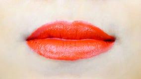 Sexy sinnliche rote Lippe mit dem Mund geschlossen Stockbilder