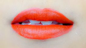 Sexy sinnliche rote Lippe mit dem Mund offen Lizenzfreies Stockfoto