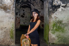 skull lady in an old fort Royalty Free Stock Images