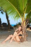 Sexy slender woman relaxing under a tropical palm Royalty Free Stock Photography