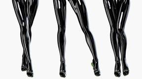 Sexy slim female legs in dark stockings. Royalty Free Stock Photos