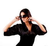 slim girl wearing sunglasses Royalty Free Stock Photography