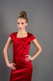 Sexy slim woman in red dress Royalty Free Stock Images