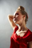 Sexy slim woman in red dress Royalty Free Stock Photos