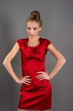 Sexy slim woman in red dress Royalty Free Stock Photo