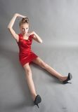 Sexy slim woman in red dress Royalty Free Stock Image