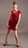 Sexy slim woman in red dress Stock Images