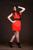 Sexy Slim Woman In Red Vintage Dress Royalty Free Stock Photography