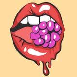 Sexy smeltende lippen met sappige gom of bes Pop-artmond het bijten suikergoed Sluit omhoog mening van abstract beeldverhaalmeisj Royalty-vrije Stock Foto's