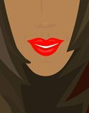 Sexy smile. Red lips... tanned skin... Part of the beautiful girl face Royalty Free Stock Images