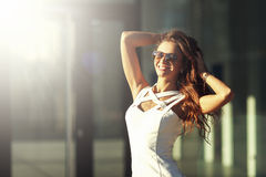 Smiling Beautiful Young Happy Woman In Sunglasses royalty free stock photo